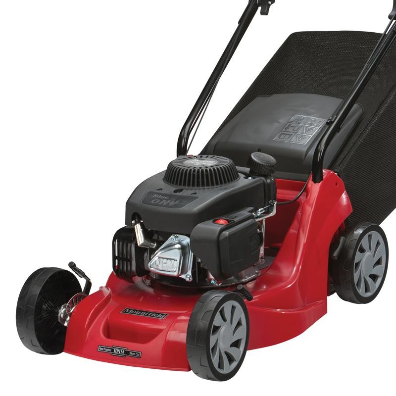Mountfield HP414 Hand-Propelled Petrol Lawn Mower Left Close Up