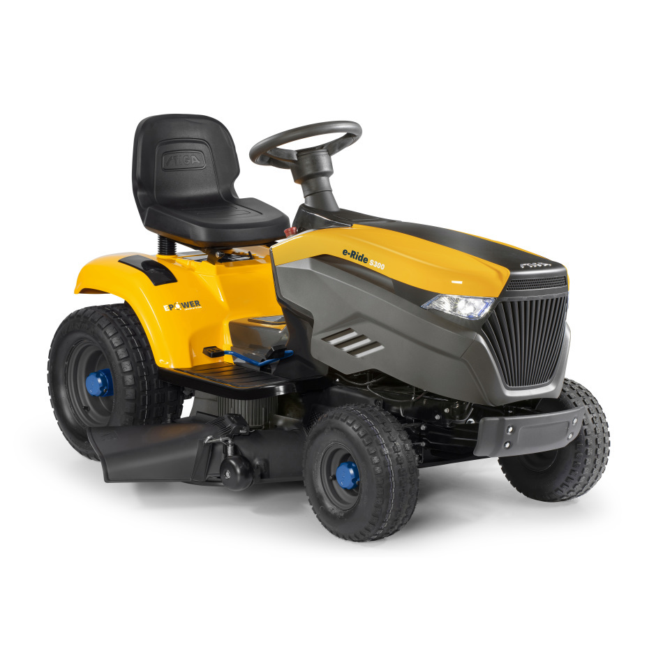Stiga e-Ride S300 Battery Side Discharge Lawn Tractors c/w 98cm (38'') Deck Powered Lithhium-Ion Battery