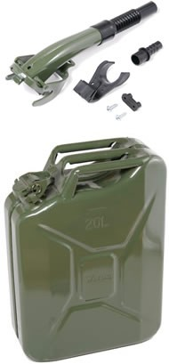 F-2200 Steel Gerry Can (20 Litres - Khaki) + Khaki Flexible Pouring Spout (3210)