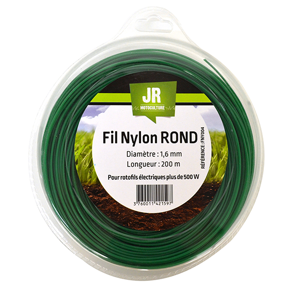 Nylon Round Trimmer-Line - Replacement Strimmer Line - 1.6mm x 200m - JR FNY004