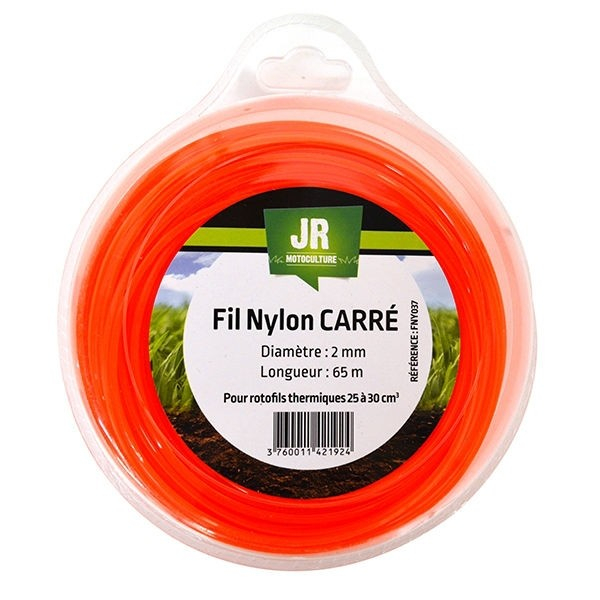 Square Nylon Trimmer-Line -Replacement Strimmer Line  - 2mm x 65m - JR FNY037