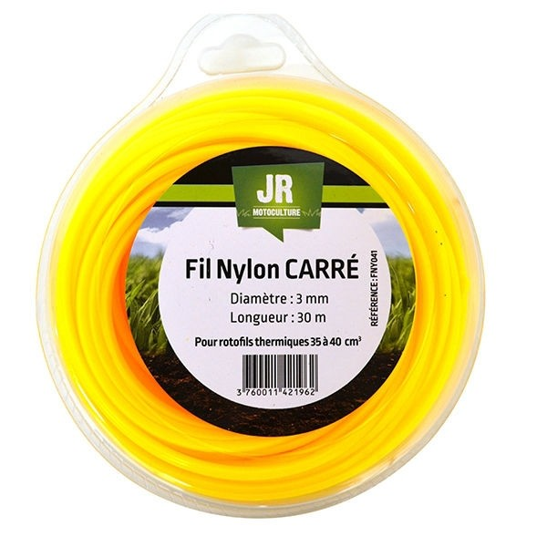 Square Nylon Trimmer-Line - Replacement Strimmer Line-  3mm x 30m - JR FNY041